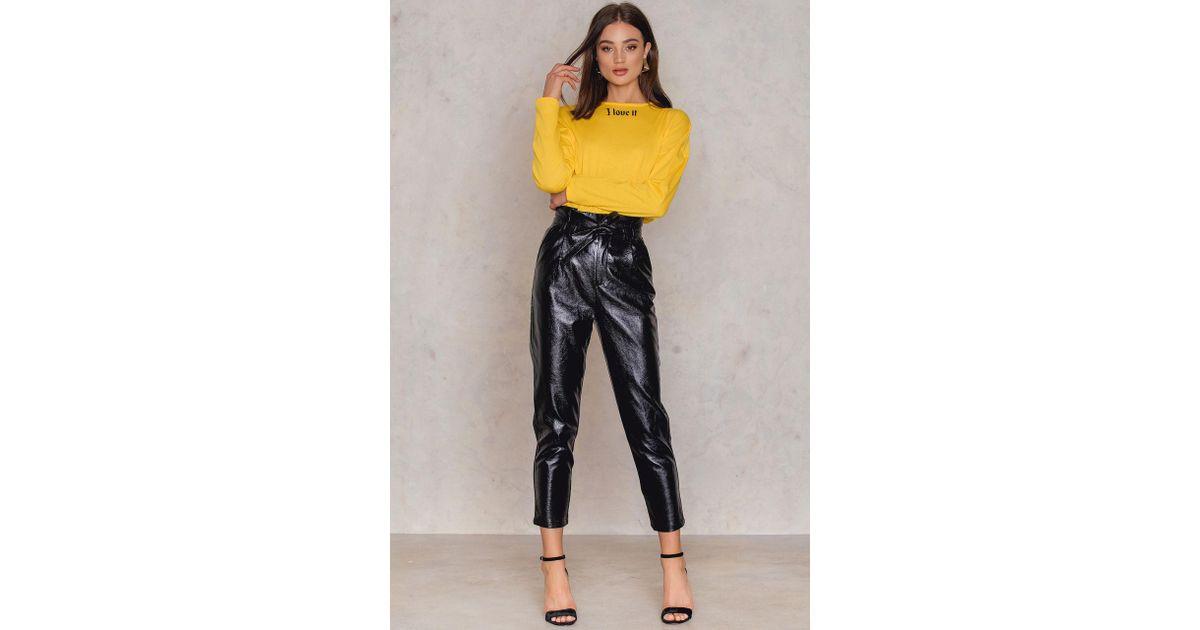 b61d41283265f NA-KD Paperwaist Patent Leather Pants Black in Black - Lyst