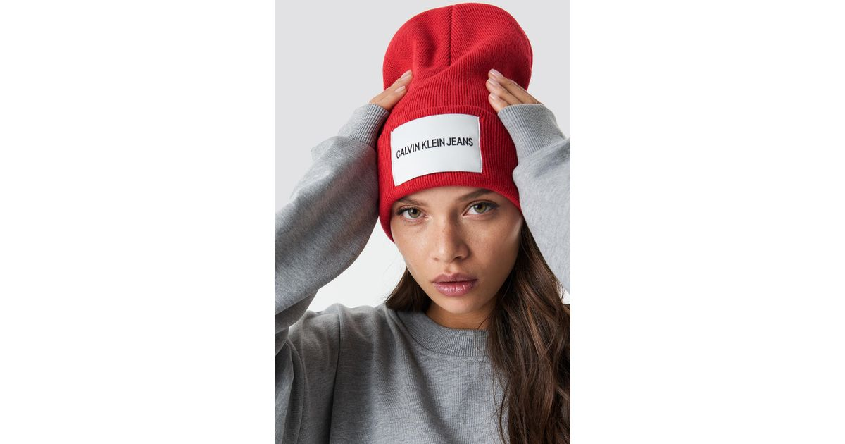 Lyst - Calvin Klein Beanie With Tab Logo in Red 6b35ce744d7