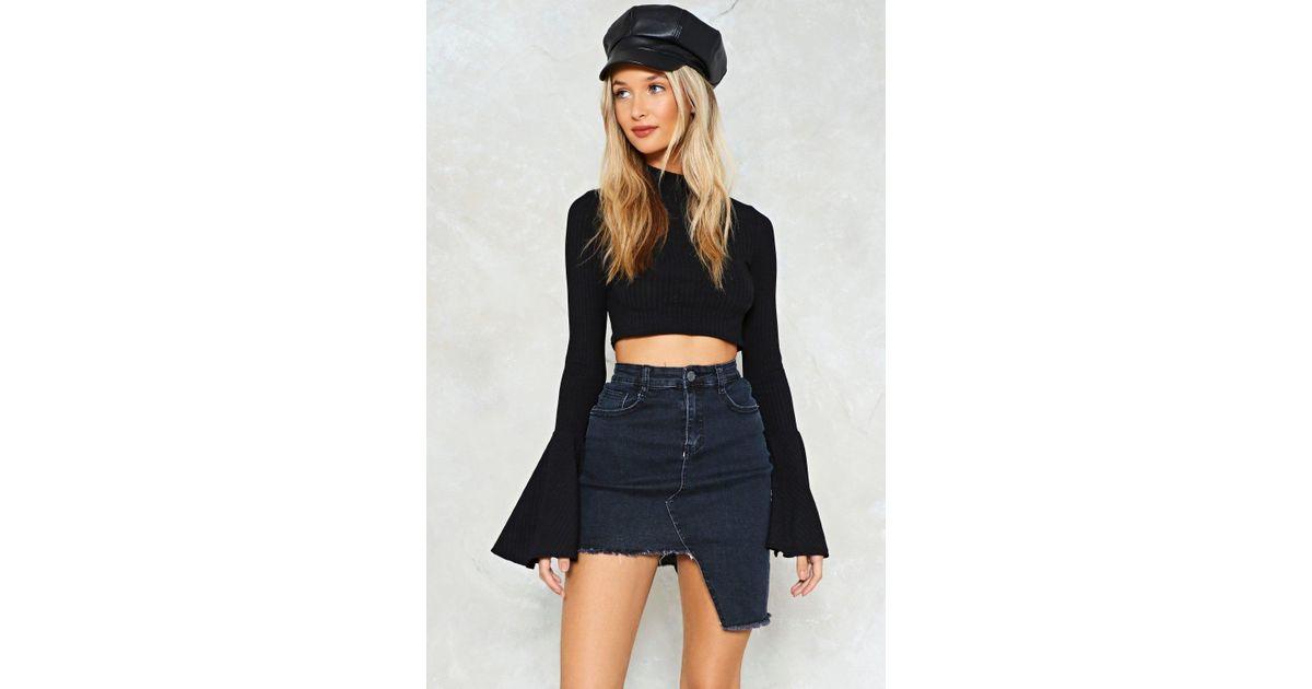 a478be1e7d Nasty Gal Asymetric Denim Skirt Asymetric Denim Skirt in Black - Lyst