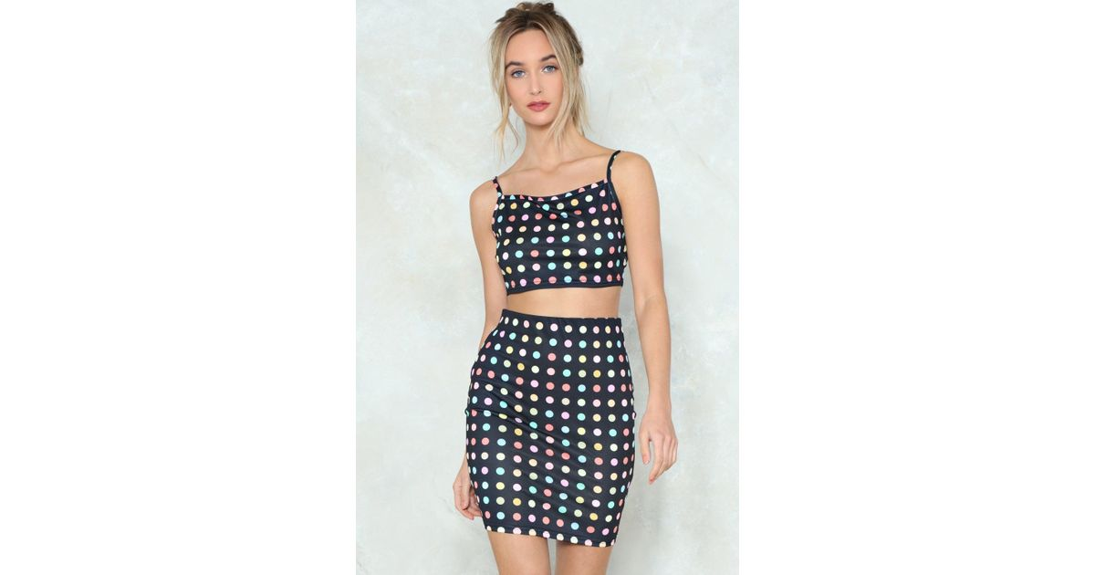 cc8aabcc8 Lyst - Nasty Gal Off Guard Polka Dot Crop Top And Skirt Set in Black