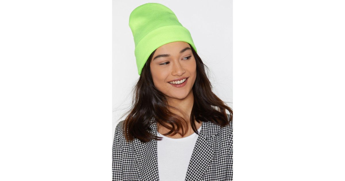 05dbc3c5c58 Lyst - Nasty Gal Rave It Up Neon Beanie in Green