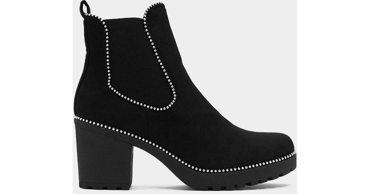 f7d49d062b3b Lyst - Nasty Gal One Night Stand Studded Ankle Boot in Black