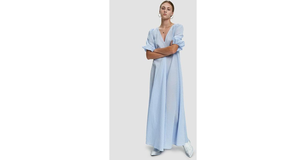 Lyst - Ganni Charron Puff Sleeve Maxi Dress in Blue
