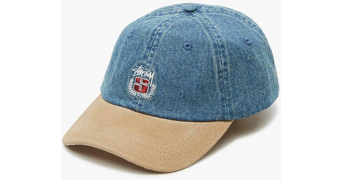 cf51ed82aeb Lyst - Stussy Denim Suede Crest Cap in Blue for Men