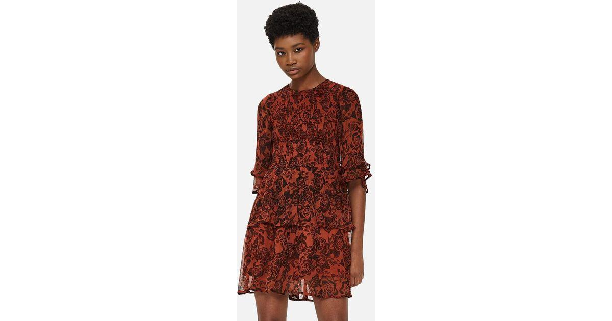f574f8a09cfc Ganni - Brown Beaumont Chiffon Dress - Lyst