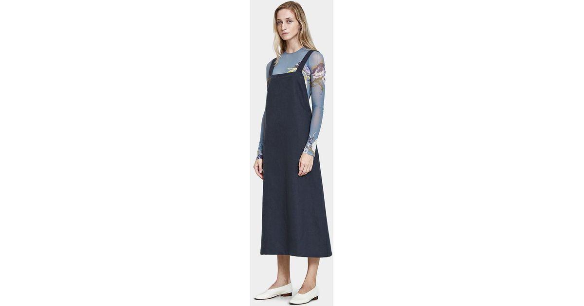 47e63b7e45 Baserange Duffy Overall Dress In Petrolium in Blue - Lyst