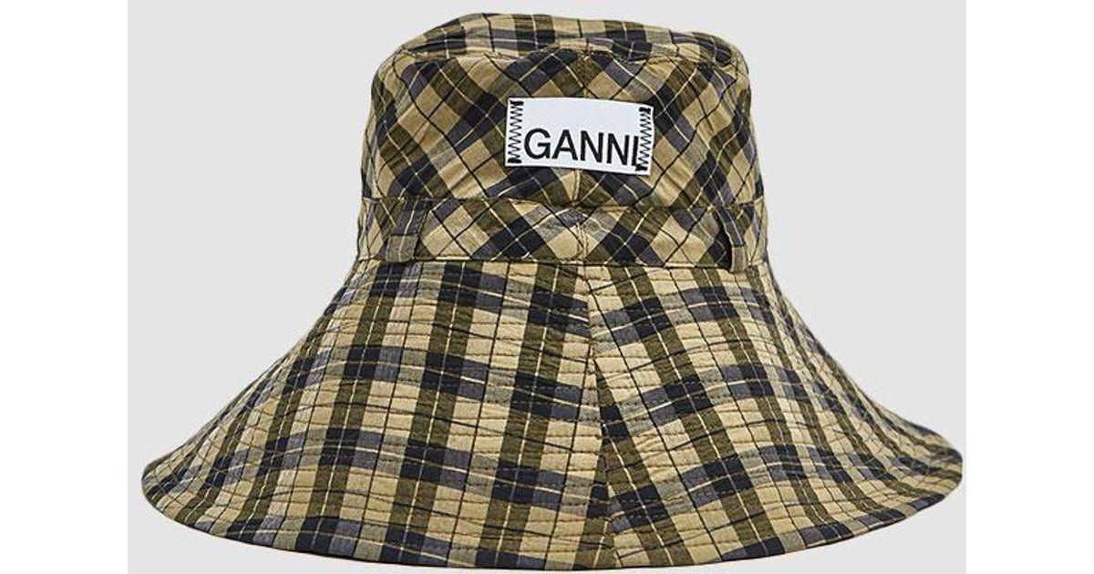 386421433429e Ganni Seersucker Check Hat in Green - Lyst