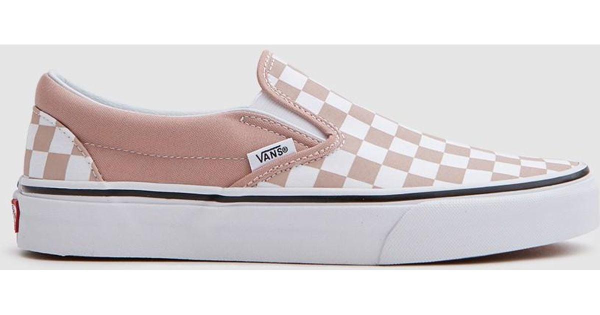 Vans Classic Slip On In Mahogany Rose/white Checker