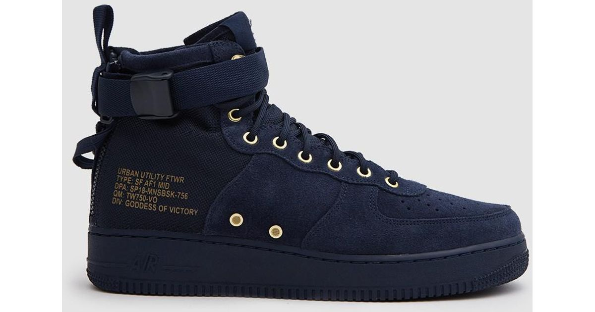 Nike Blue Sf Air Force 1 Mid Shoe In Obsidianobsidian Black for men