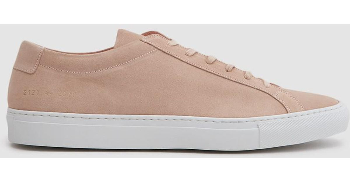 b68e2b84935b Lyst - Common Projects Achilles Low Suede Sneaker In Blush