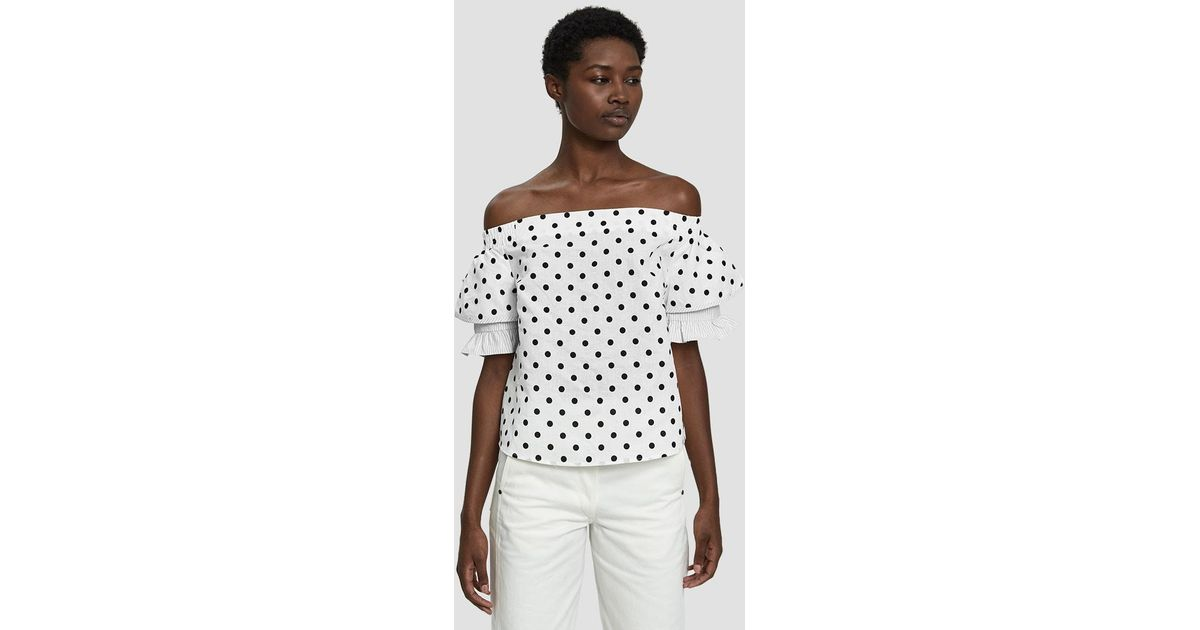 741d102022d2b Lyst - Farrow Adeline Polka Dot Off Shoulder Top in White