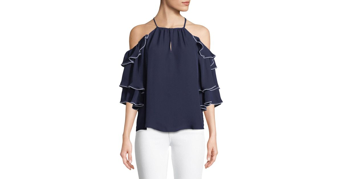 1184b700e09be7 Lyst - Parker Cindy Cold-shoulder Ruffled Silk Top in Blue