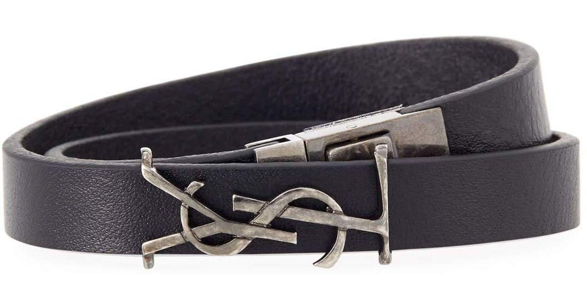 Saint Laurent Mens Leather Wrap Bracelet w/ Logo, Dark Brown