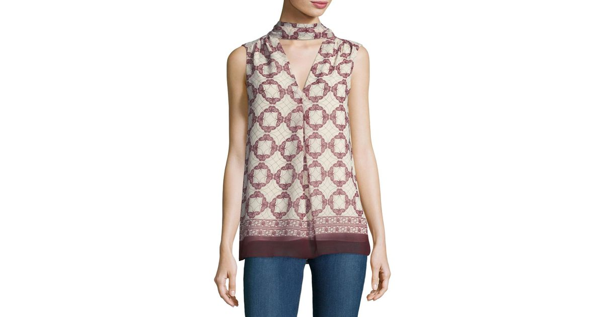 Lyst - Max Studio Choker-neck Geometric-print Blouse in Pink d4e5d4ab0