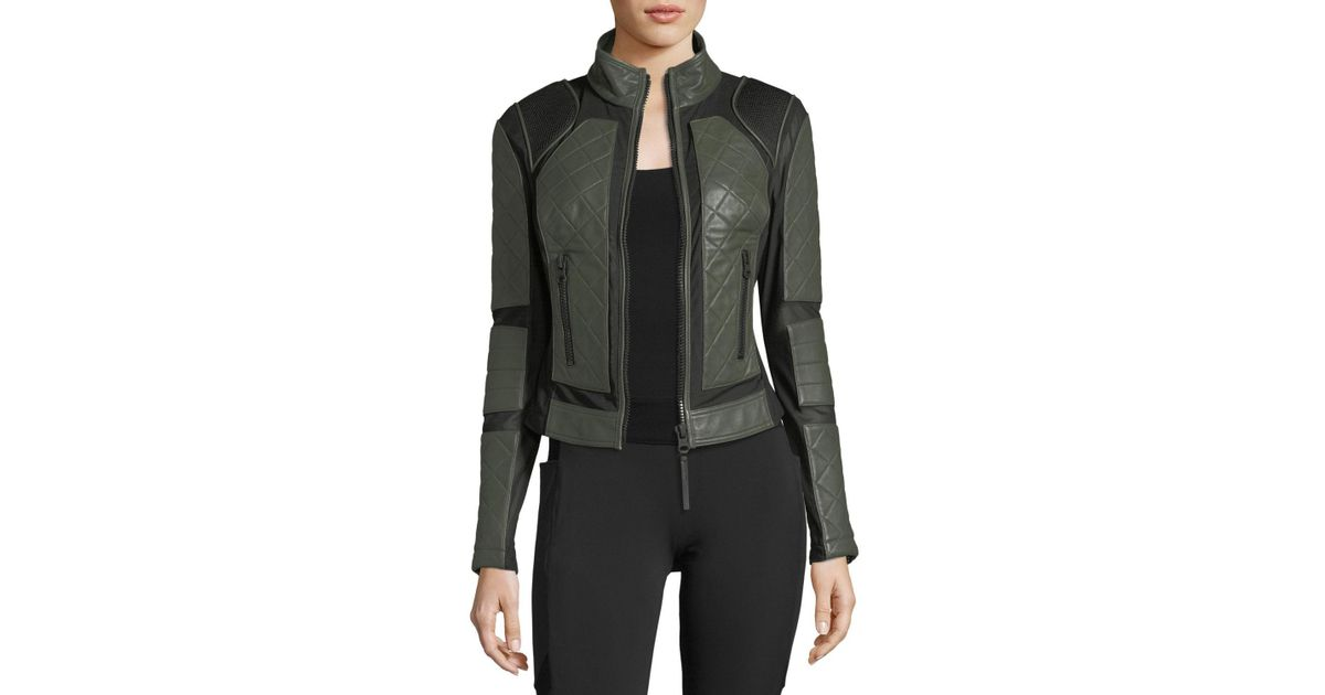 092d6e9dbdf7 Lyst - BLANC NOIR Quilted Leather   Mesh Moto Jacket in Green
