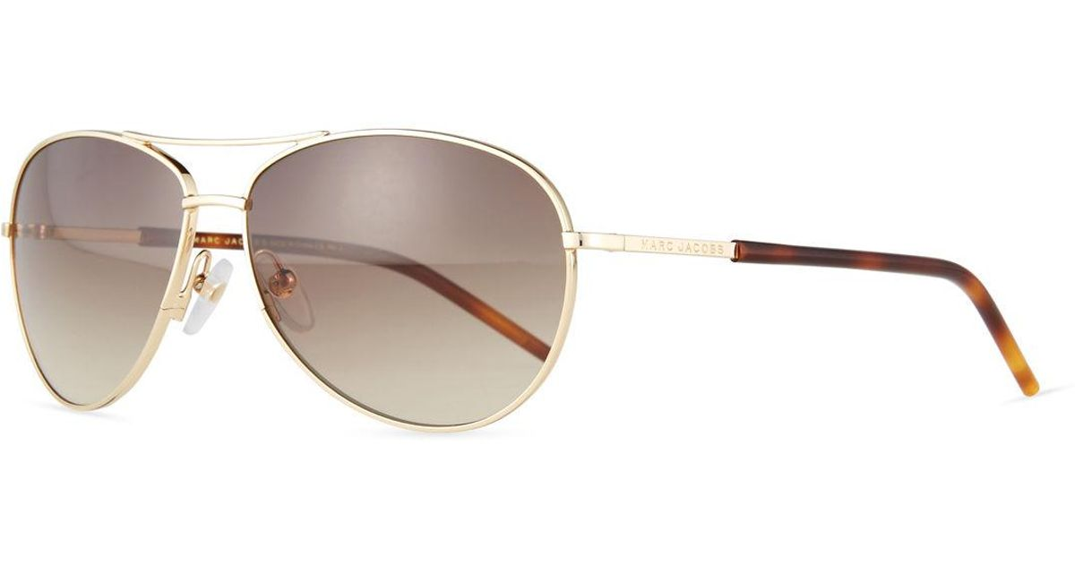 b43025889e50 Marc Jacobs Metal Curved-brow Aviator Sunglasses in Metallic - Lyst