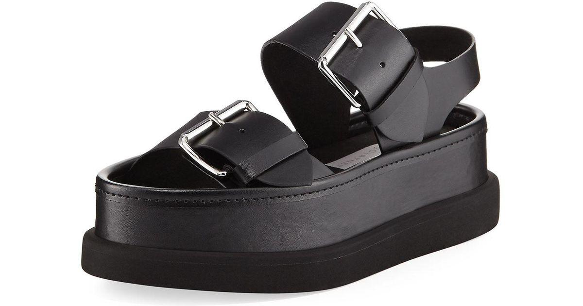 Sandal Black Faux Mccartney Sandalo Oipkutxz Stella Buckle Leather lFK3TcJ1