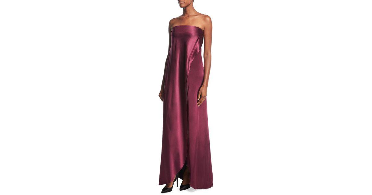 Lyst Diane Von Furstenberg Strapless D Satin Side Gown In Red