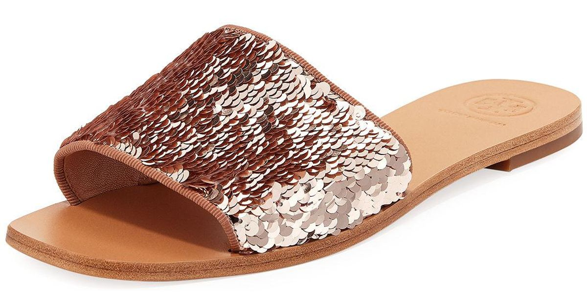 Tory Burch Leather Carter Sequined
