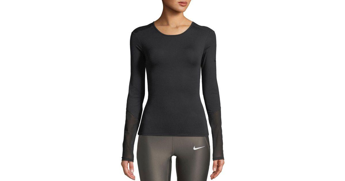 3ee06fd85a70e Lyst - Nike Dri-fit Long-sleeve Cross Back Training Top in Black