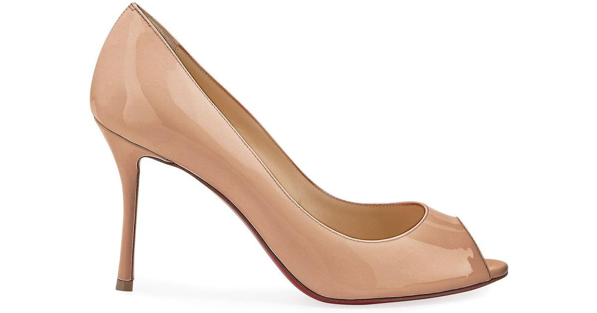 67f3fc9750d Lyst - Christian Louboutin Yootish 85mm Peep-toe Red Sole Pump in Natural