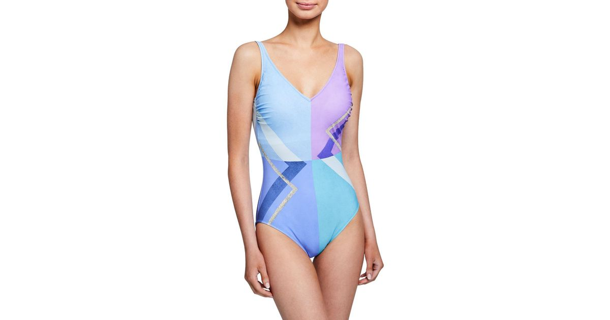 a898fdfccba5a1 Gottex Modern Art V-neck One-piece Swimsuit in Blue - Lyst