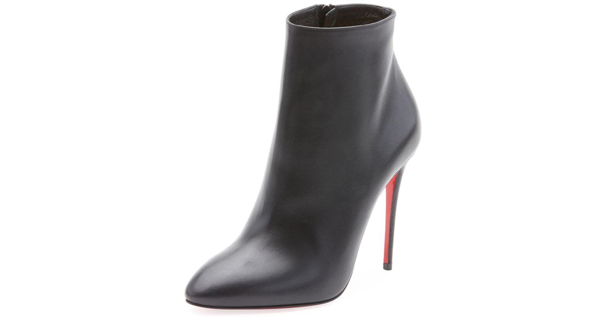hot sales f863d fafb7 Christian Louboutin - Black Eloise Leather Red Sole Booties - Lyst