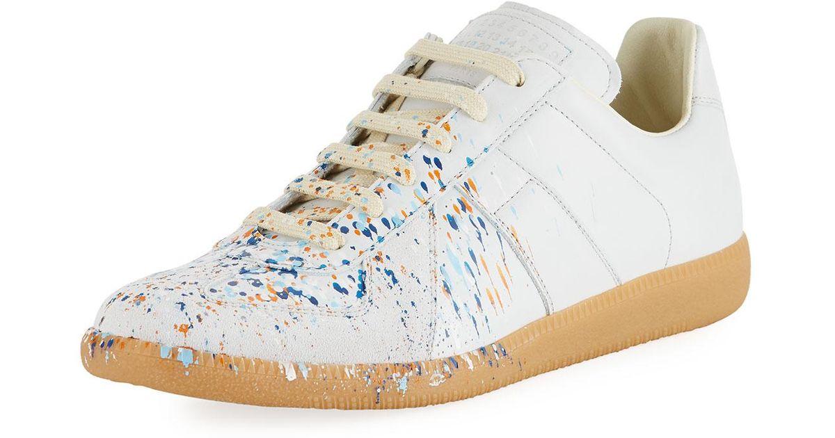 9eb045638ea45 Lyst - Maison Margiela Men s Replica Paint-splatter Low-top Sneakers in  White for Men
