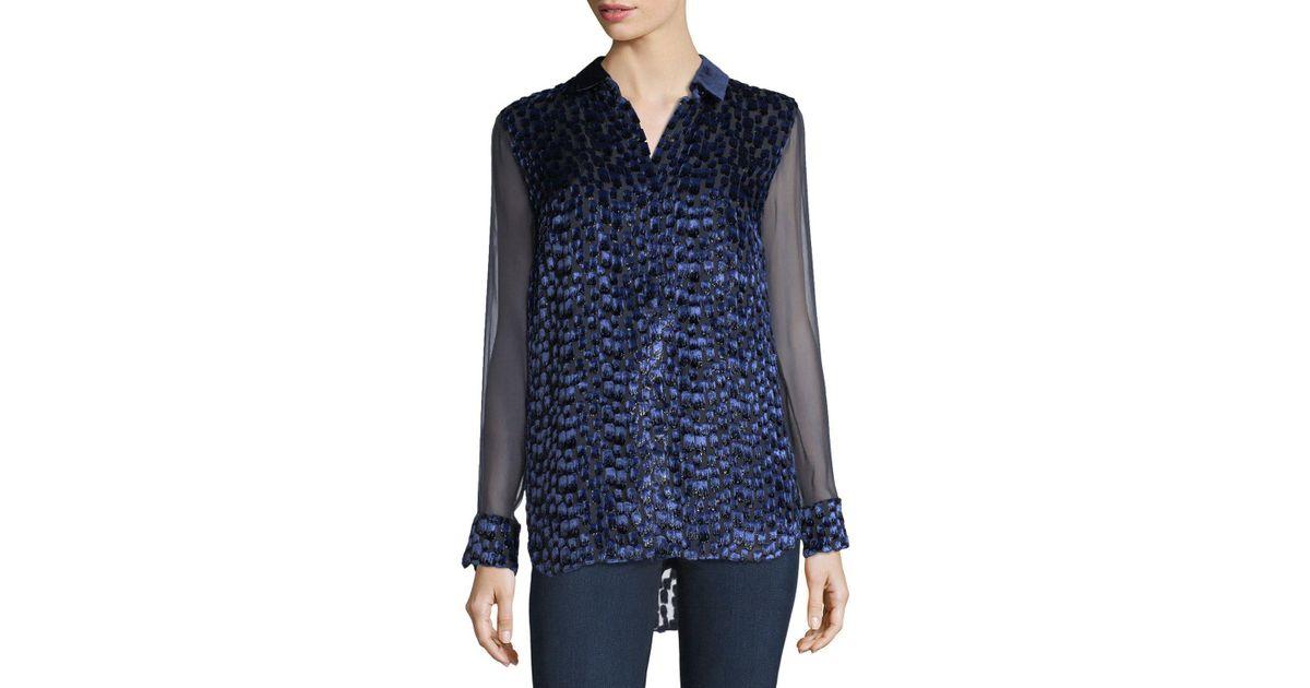 13dd261d87b456 Lyst - Elie Tahari Martha Long-sleeve Snap-front Textured Blouse in Blue