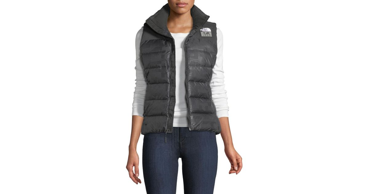 73bc74dcd The North Face Black Nuptse Standard Zip-front Down Puffer Vest With  Flag-print Lining