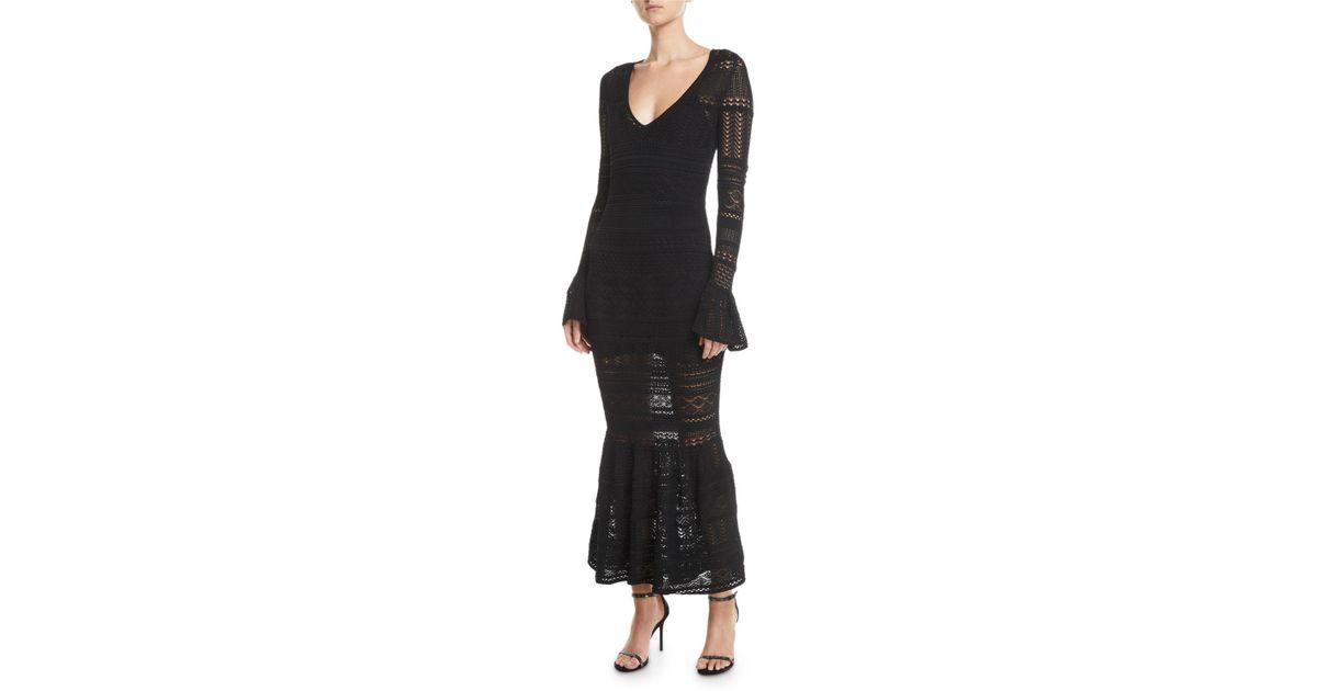 Lyst Alexis Darcie Crochet Long Sleeve Mermaid Dress In Black