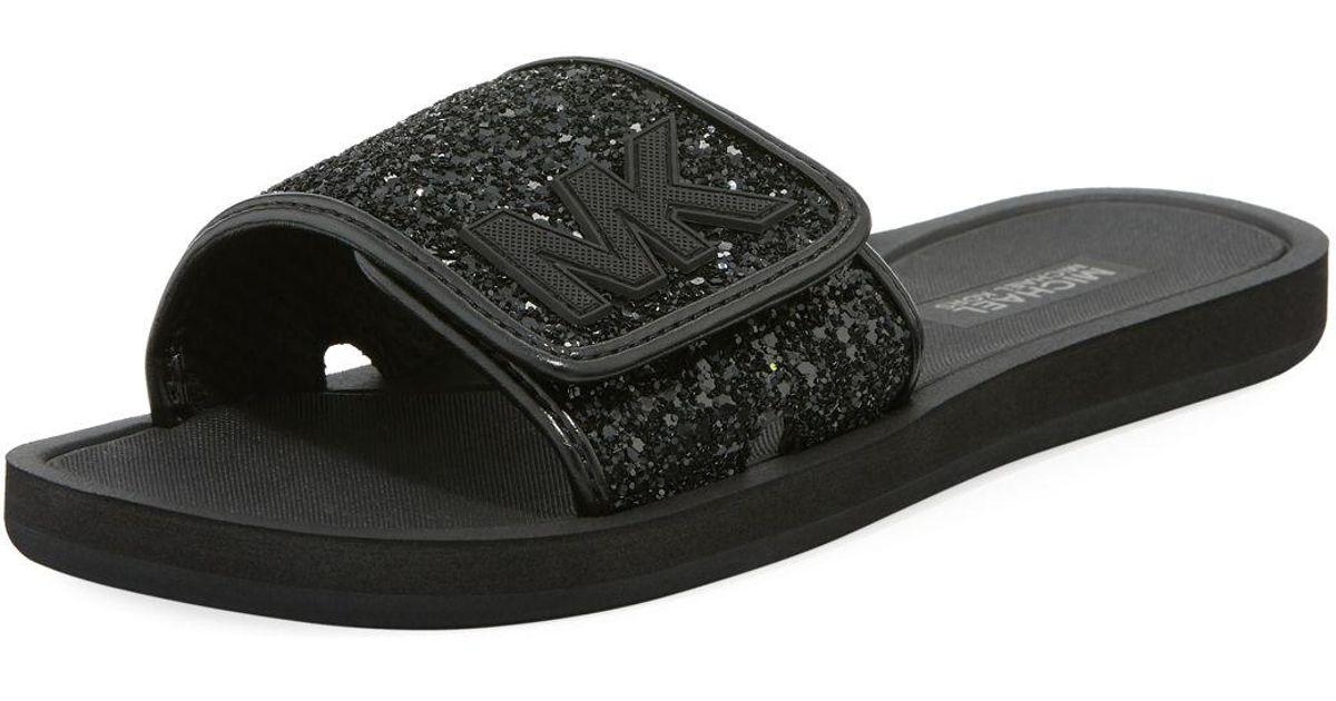 Michael Kors Leather Mk Slide Flat