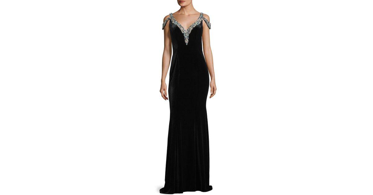 Lyst - Jovani V-neck Jeweled Velvet Evening Gown in Black
