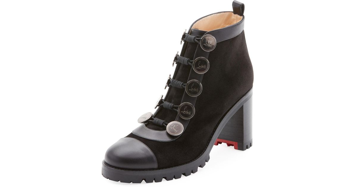 best loved e3f4d 4a789 Christian Louboutin Black Alphabouton High Red Sole Booties