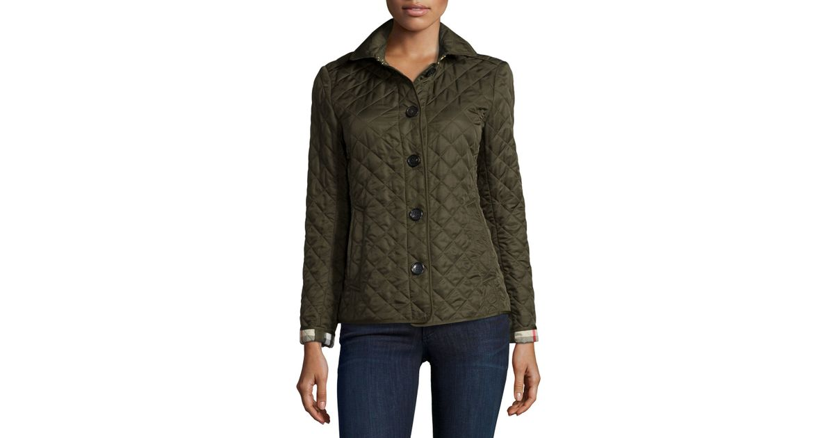 Burberry Brit Synthetic Ashurst Diamond Quilted Jacket In