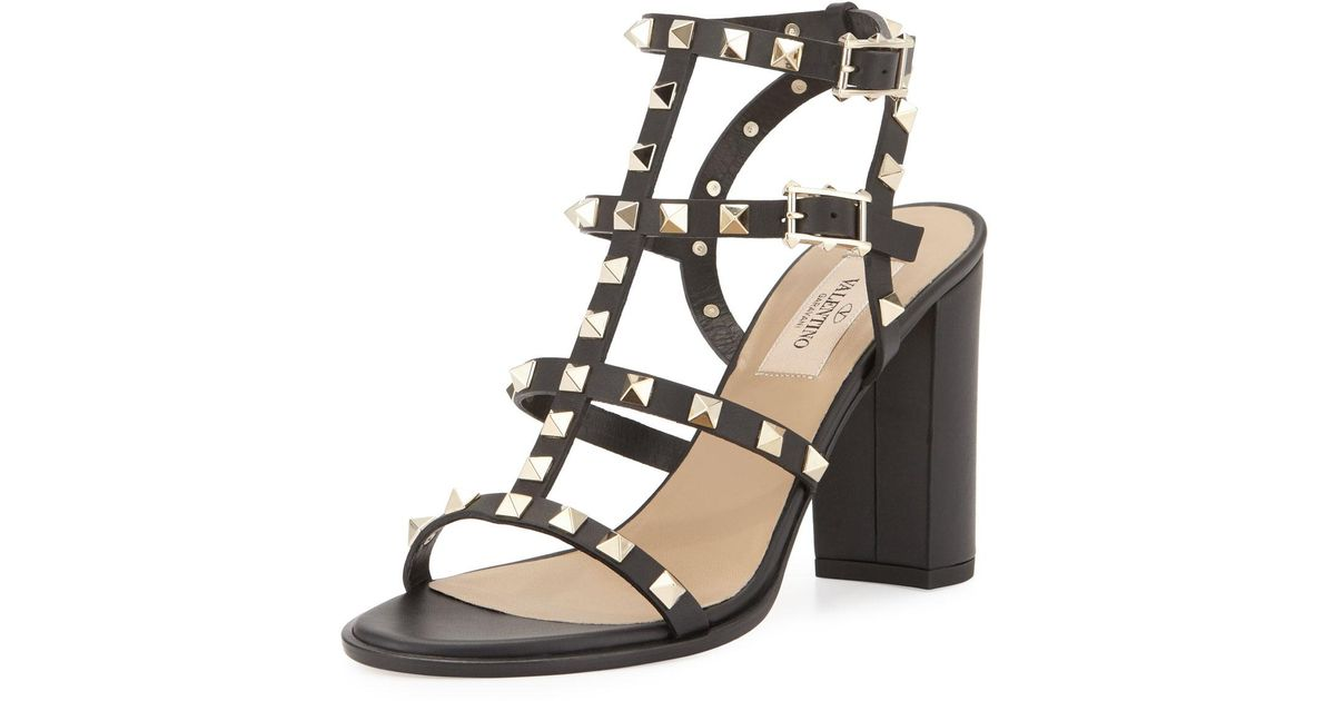 85ff3396887a Lyst - Valentino Rockstud Leather 90mm City Sandal in Black