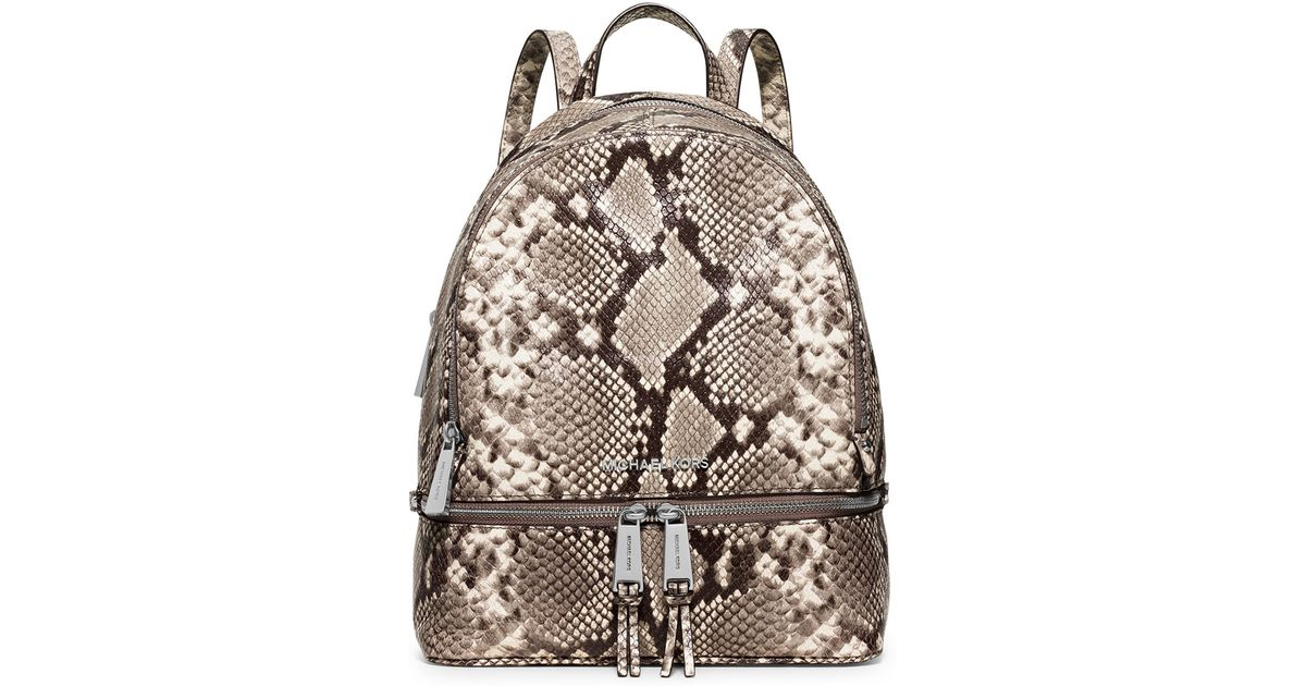582074e97123 Lyst - MICHAEL Michael Kors Rhea Embossed Leather Backpack in Natural