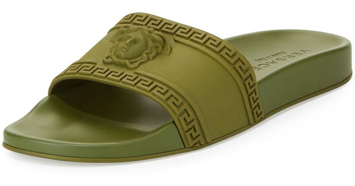 acd2969331ed Lyst - Versace Men s Medusa   Greek Key Shower Slide Sandal in Green for Men