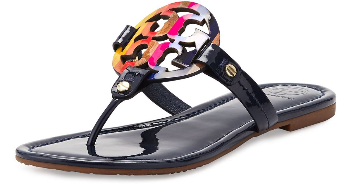 071b909347c8 Lyst - Tory Burch Miller Rainbow Patent-Leather Logo Sandals in Black