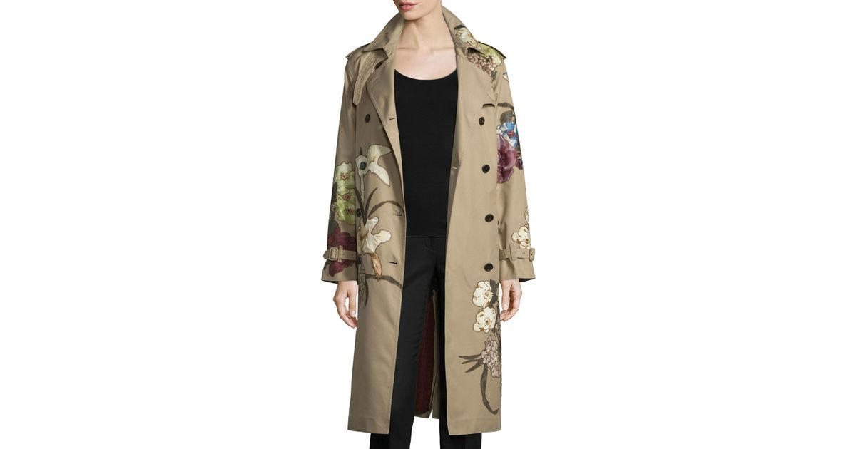 Women's Natural Kimono Embroidered Trenchcoat