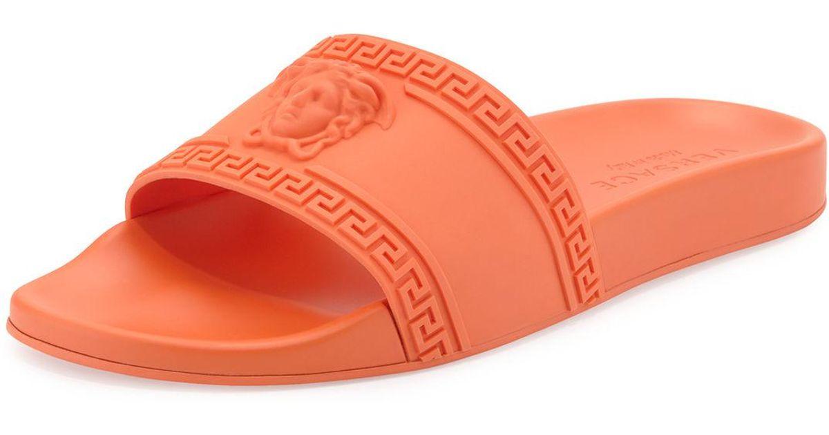 lyst versace men s medusa greek key shower slide sandal in