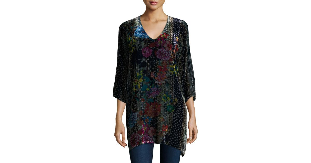 Johnny Was Tappa Floral-print Velvet Tunic in Blue - Lyst