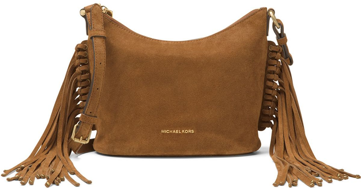 0d6256c71170b7 ... closeout lyst michael michael kors billy medium fringe suede messenger  bag in brown a6ab2 dea2e ...