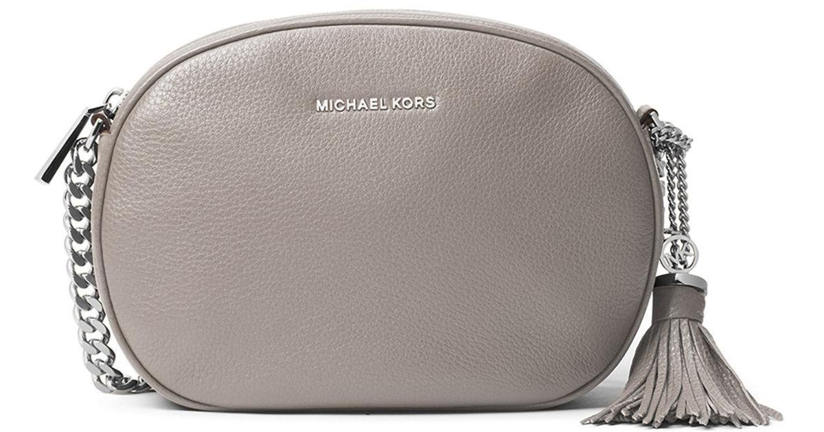 0200bd52c28f Lyst - MICHAEL Michael Kors Ginny Medium Leather Messenger Bag in Gray