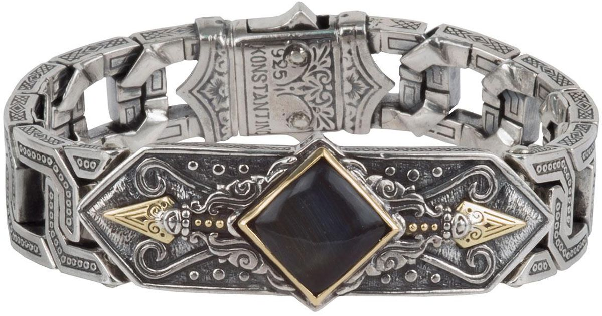 Konstantino Mens Sterling Silver & 18K Gold Bracelet with Hawks Eye AQO9P9WC
