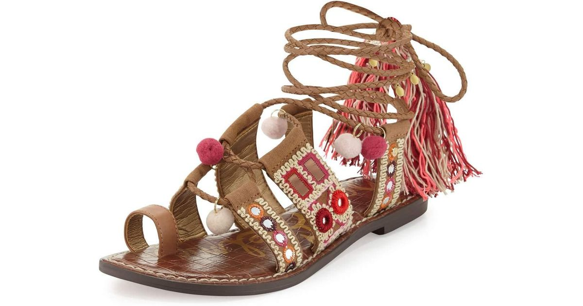 e3102dc42be9 Lyst - Sam Edelman Gretchen Embroidered Lace-up Flat Sandal