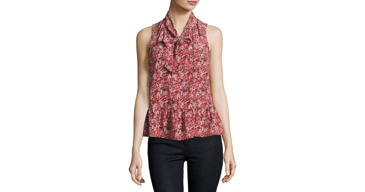 e66e1c94ac9812 Lyst - Joie Estero Floral Silk Sleeveless Tie-neck Blouse in Red