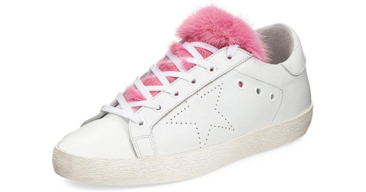 229b41a62dfae Golden Goose Deluxe Brand Superstar Fur-trim Low-top Sneakers in Pink - Lyst