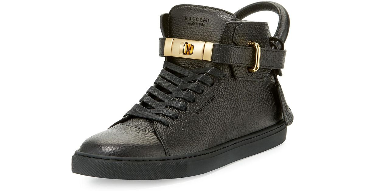 Buscemi 100mm High Top Pebbled Leather