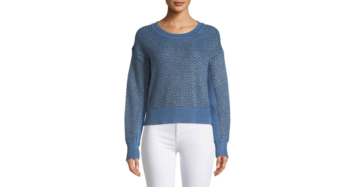 451e8b57f3d7 Lyst - Rag   Bone Kyra Crewneck Metallic Knit Pullover in Blue